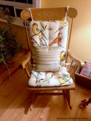 Song Bird Multi Dining Chair Pads - Barnett Home Decor - Teal, Yellow, & Red