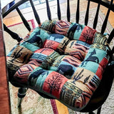 Southwest Laramie Dining Chair Cushion - Barnett Home Decor - Teal, Turquoise, Red, & Brown
