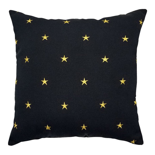 "Embroideries Stars Toss Pillow - 14"" - Gold Embroidered Throw Pillow (Black)"