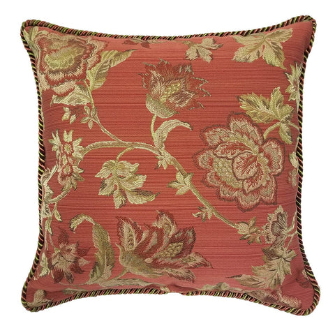 Greenbrier Rouge Red Throw Pillow | Barnett Home Decor