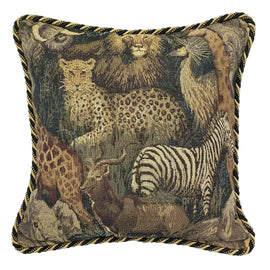 Safari Microsuede Throw Pillow With Trim | Barnett Home Decor