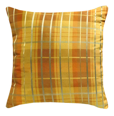 Silk Plaid Spice Throw Pillow | Barnett Home Decor