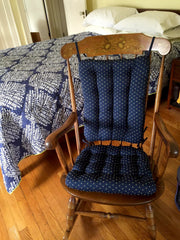 Tiffany Navy Blue Brocade Rocking Chair Pads - Barnett Home Decor - Blue