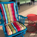 Westport Cabana Stripe Red Porch Rocker Cushions - Latex Foam Fill - Reversible