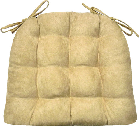 Micro-Suede Camel Dining Chair Pads - Latex Foam Fill - Solid Color Microfiber Ultra-Suede