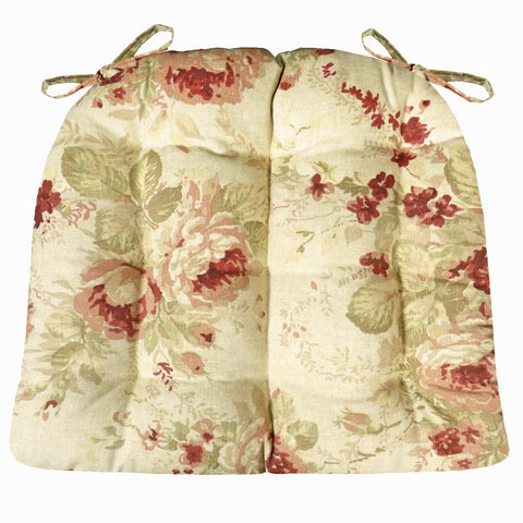 Chablis Rose Floral Dining Chair Pads  - Latex Foam Fill - Shabby Chic