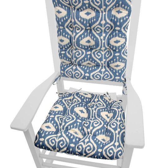 Bali Ikat Blue Rocking Chair Cushions - Latex Foam Fill