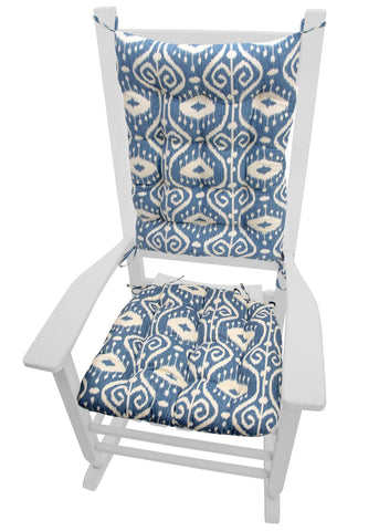 Bali Ikat Blue Rocking Chair Cushions - Latex Foam Fill, Reversible, Machine Washable