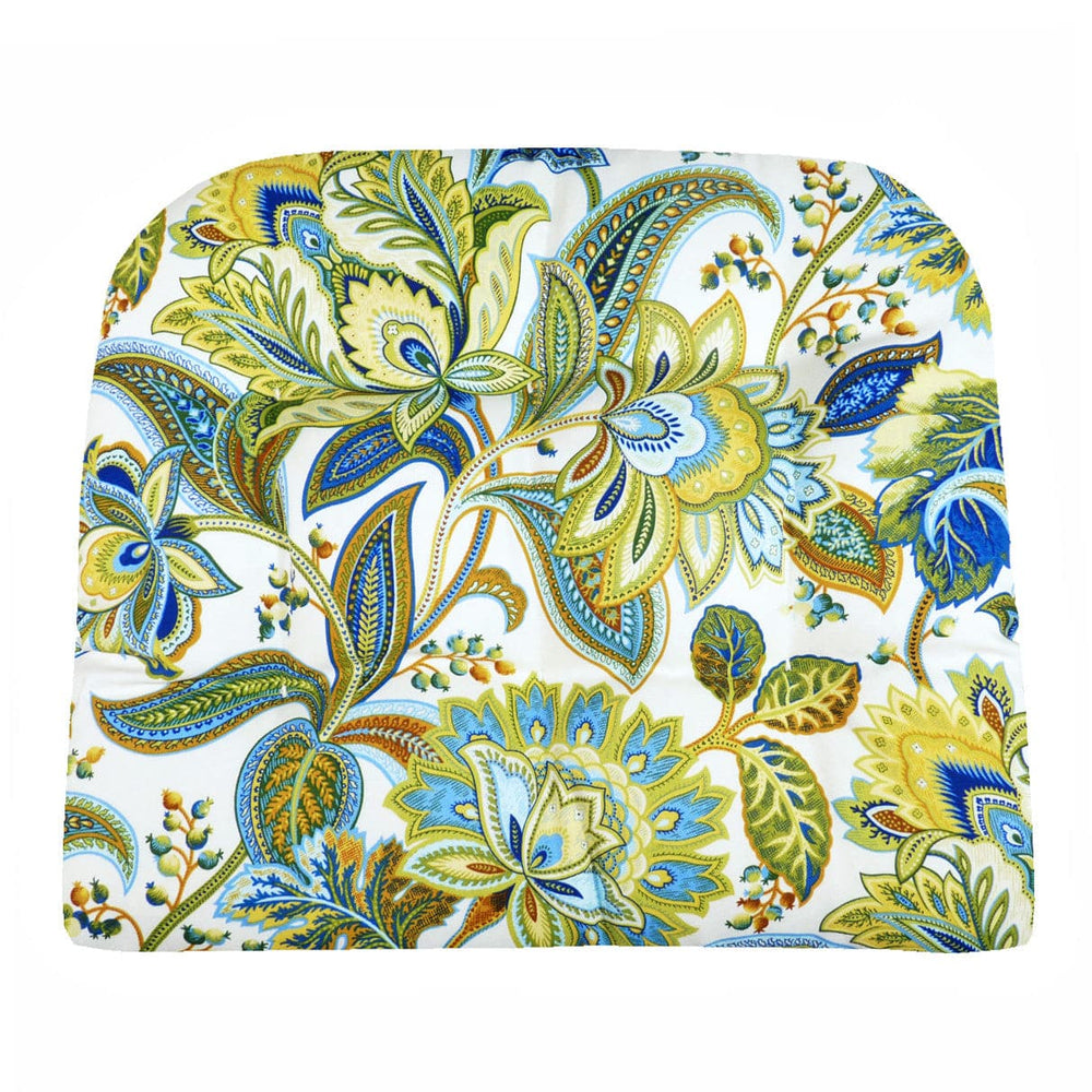 Valbella Blue Floral Indoor / Outdoor Dining Chair Pads & Patio Cushions