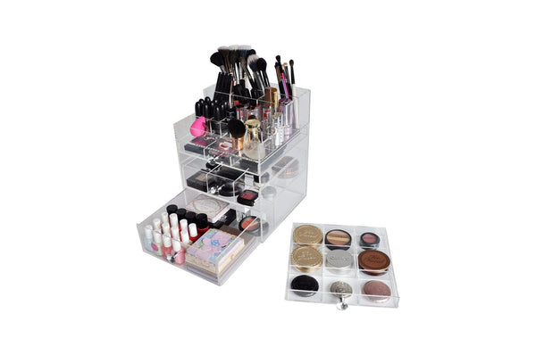 Clear Acrylic Makeup Organizer Drawer Box With Makeup