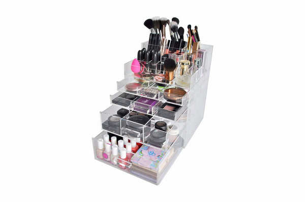 "Clear Acrylic Makeup Organizer ""SleekBox"" Brush and Lipstick Holder Acrylic Handle Cosmetic Storage"