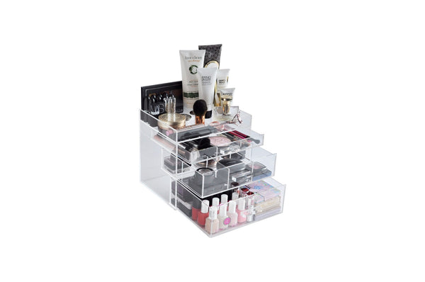 "Clear Acrylic Makeup Organizer ""ChicBox"" Acrylic Handle Vanity Cosmetic Storage Beauty Drawer"