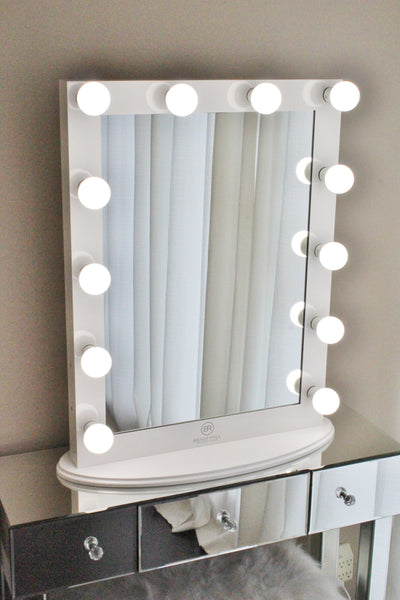 Hollywood Makeup Vanity Mirror White with Dimmer, Tabletop or Wall Mounted Vanity, LED Bulbs Included