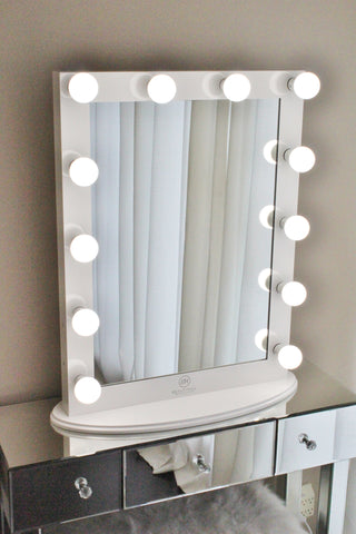 Hollywood makeup vanity mirror white with dimmer tabletop or wall hollywood makeup vanity mirror white with dimmer tabletop or wall mounted vanity led bulbs aloadofball Gallery