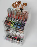 "Clear Acrylic Makeup Organizer ""GlitzBox"" Brush and Lipstick Holder Crystal Vanity Cosmetic Storage"