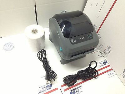 "Refurbished Zebra ZP450 Thermal Printer With 1 Roll 2 3/16"" X 1/2"" Jewelry Tags For Barcodes Or POS"