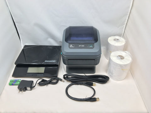 "Refurbished Zebra ZP450 Thermal Printer, 56 Lb Postal Scale & 500 4"" x 6"" Labels Bundle"