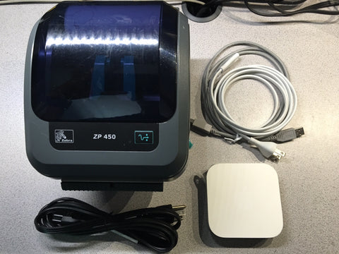 Refurbished Zebra ZP450 Thermal Label Printer With Adjustable Arms & Wireless WiFi Printer Server Apple Airport Express