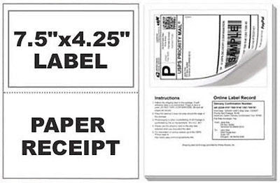 Self Adhesive Mailing Shipping Labels W/ Tear Off Paper Receipt Paypal Various Quantities Available