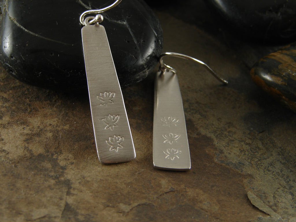 Lotus Silver Rectangular Earrings - Inner Beauty - Pranajewelry - 1