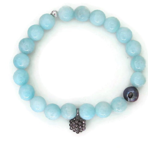 Daisy Warrior Diamond Bracelet | Pave Diamond Flower | Amazonite Gemstones