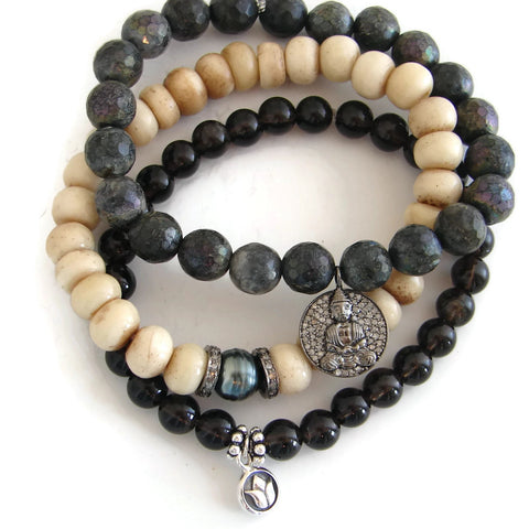 Buddha Diamond  Bracelet Stack | Enlightenment | Bliss - Pranajewelry - 1