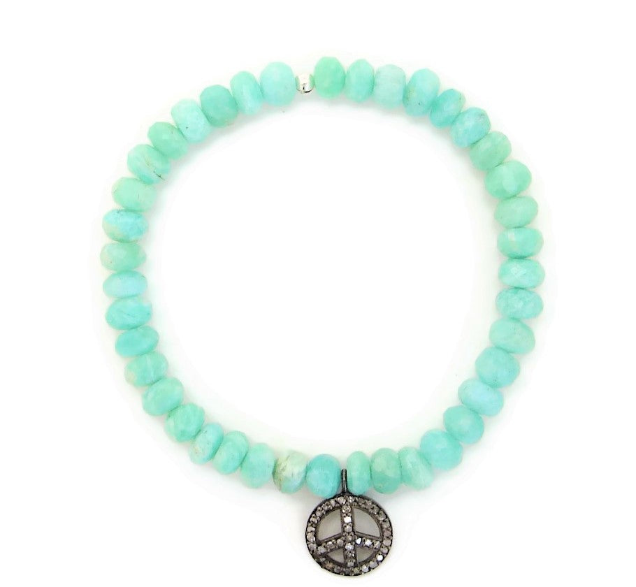 Pave Diamond Peace Amazonite bracelet
