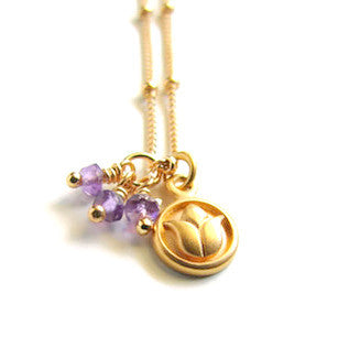 Lotus Necklace | Amethyst Gemstones