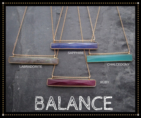 Balance Bar Necklaces | Ruby | Sapphire | Labradorite | Chalcedony