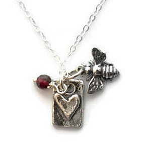 Bee Mine Heart Silver Necklace Garnet Gemstones - Love Loyalty - Pranajewelry