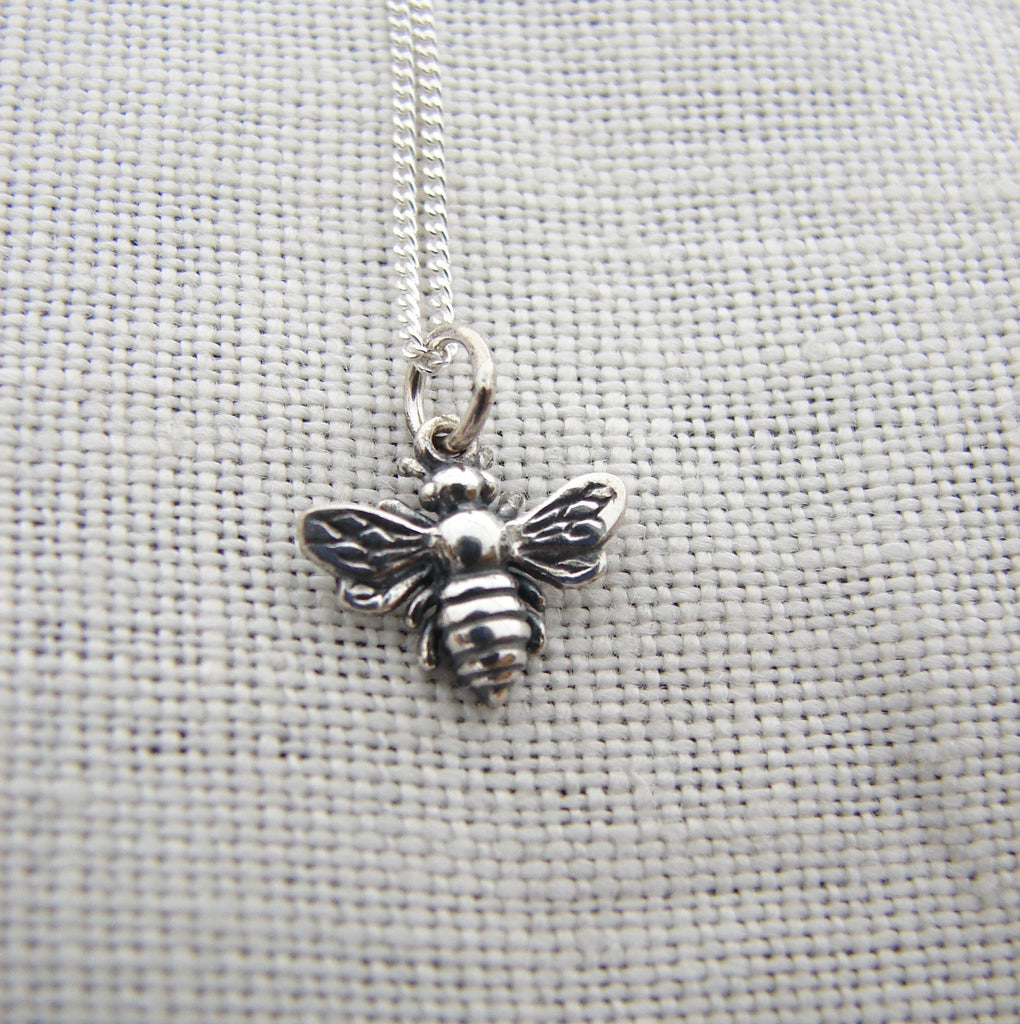 Silver Honey Bee Necklace - Pranajewelry