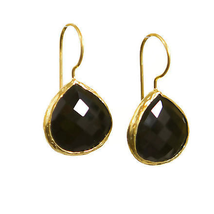 Black Onyx Faceted gold earrings