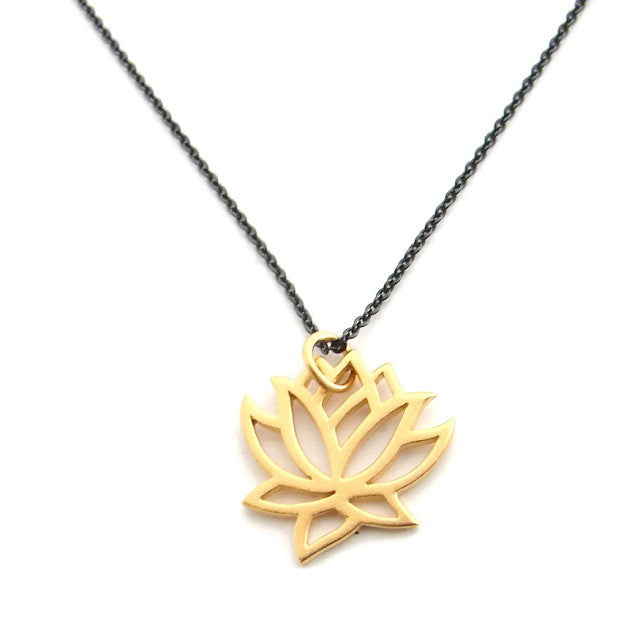 Black and Gold Lotus Necklace |  New Beginnings - Pranajewelry