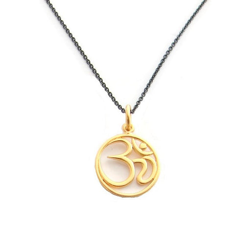 Om NecklaceBlack and Gold Om Necklace - Harmony - Pranajewelry