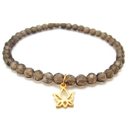 Lotus Smokey Quartz Gemstone Bracelet - New Beginnings - Pranajewelry