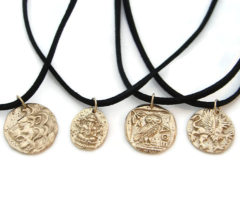 Mens Bronze Coin Necklace - Strength Power Wisdom - Pranajewelry