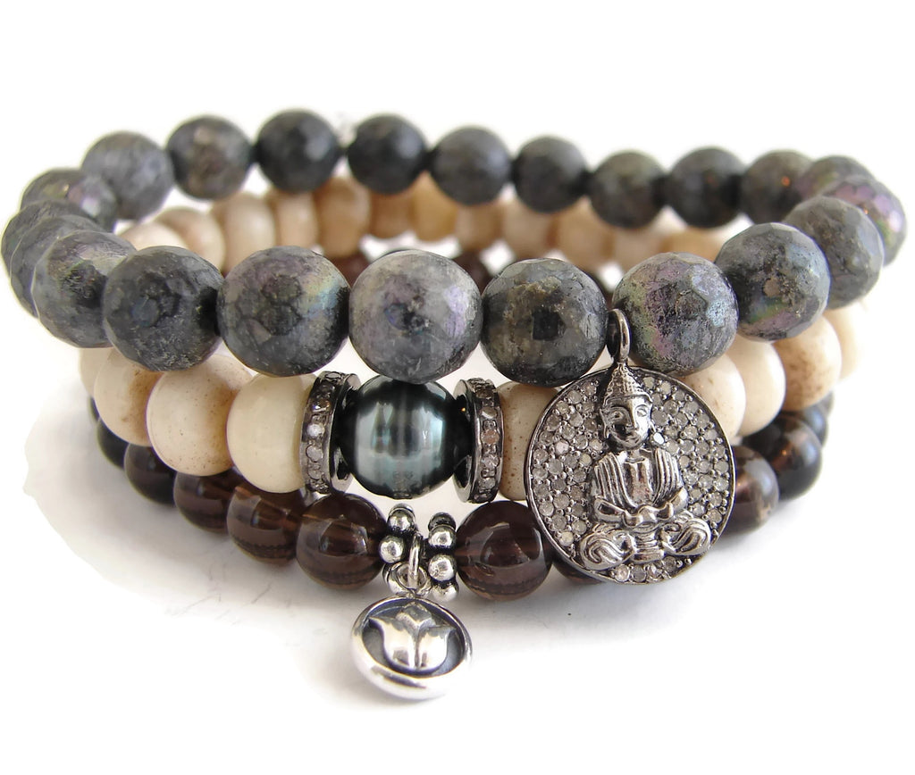 Buddha Diamond  Bracelet Stack | Enlightenment | Bliss - Pranajewelry - 5