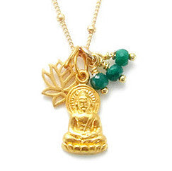 Buddha Necklace | Lotus, Buddha, Emeralds | Enlightenment Love Resilience - Pranajewelry - 1