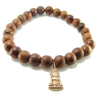 Buddha Bronze Wooden Bracelet - Wisdom Enlightenment - Pranajewelry