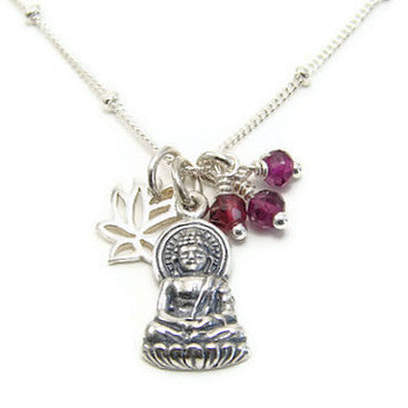 Sterling Silver Buddha Necklace with Garnet Gemstones & Mini Lotus - Pranajewelry