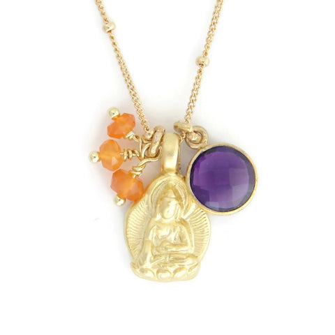 Gold Buddha Necklace | Amethyst Gemstone | Carnelian | Enlightenment- Spirituality - Pranajewelry