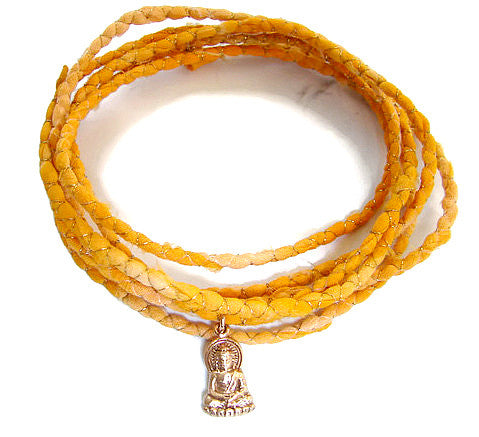 Buddha Silk Sari Bracelet Wrap - Enlightenment - Pranajewelry