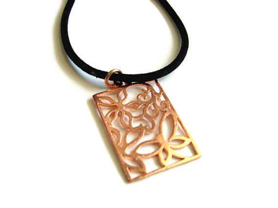 Large Copper Butterfly Necklace Pendant w Open Work - Pranajewelry