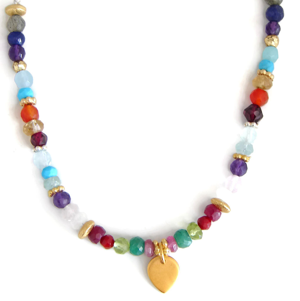 The Celebration of Life - Lotus Petal Necklace with Multi Gemstones - Pranajewelry - 1