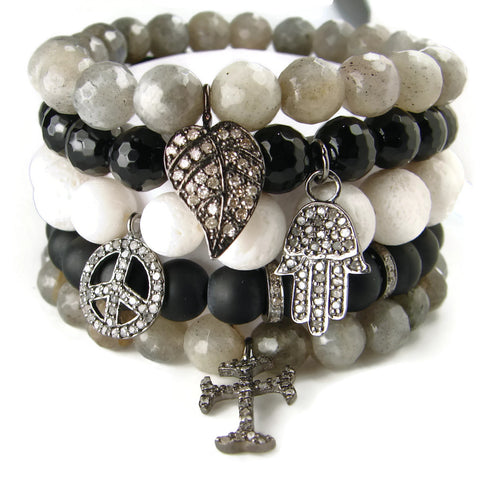 Diamond Bracelet Stack | Inspirationsl Symbols | Love Peace Devotion - Pranajewelry - 1