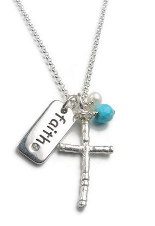 Diamond Cross  Faith Pearl Turquoise Necklace-Devotion Protection - Pranajewelry