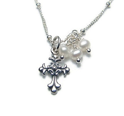 Cross Necklace | Pearl - Devotion Purity - Pranajewelry