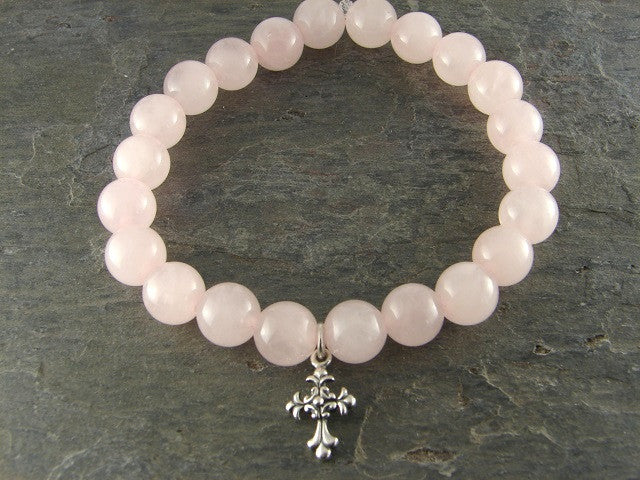 Rose Quartz Sterling Silver Cross Love Devotion - Pranajewelry
