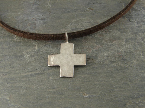 Mens Cross Necklace | Hammered Cross | Sterling Silver |  Devotion - Pranajewelry