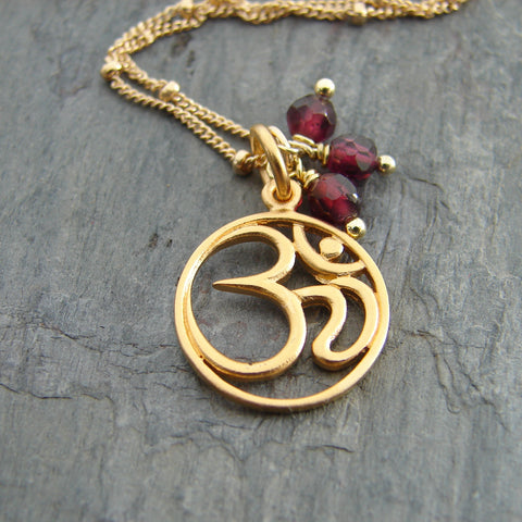 ॐ OM Garnet Necklace - Harmony Love - Pranajewelry - 1